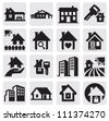 vector black real estate icons set on gray - stock photo