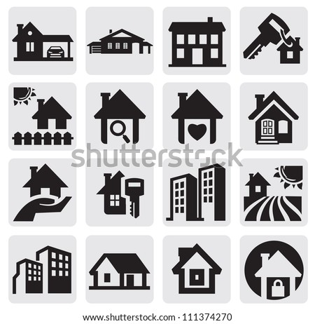 vector black real estate icons set on gray - stock vector