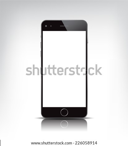 vector black realistic phone, apple iphone 6 with empty screen isolated - stock vector