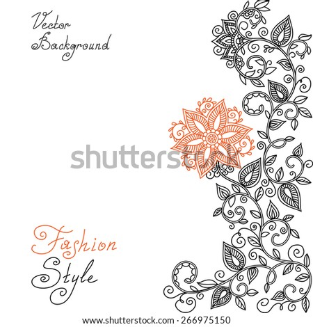 vector black, red and white floral pattern of spirals, swirls, doodles