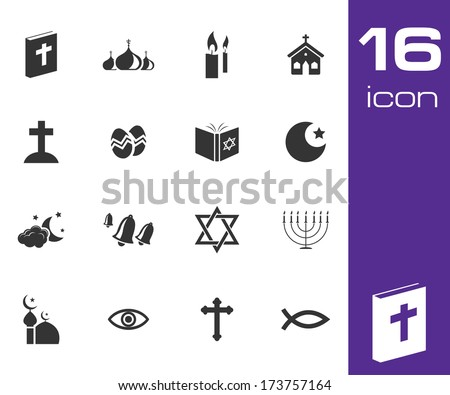 Vector black religion icons set on white background - stock vector