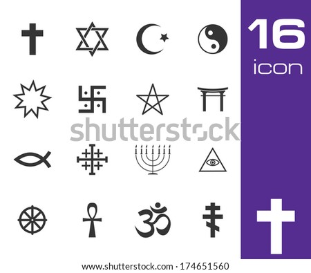 Vector black religious symbols set on white background - stock vector