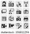vector black reporter icons set - stock vector