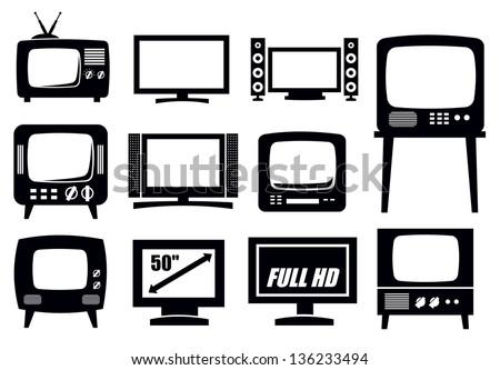 vector black retro and modern tv icons set - stock vector