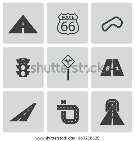 Vector black road icons set - stock vector