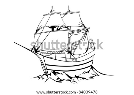 Vector black sailboat on white background - stock vector
