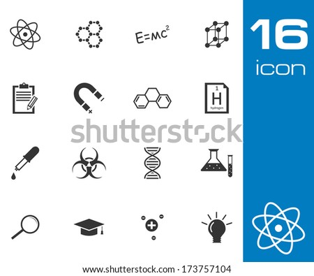 Vector black science icon set on white background - stock vector