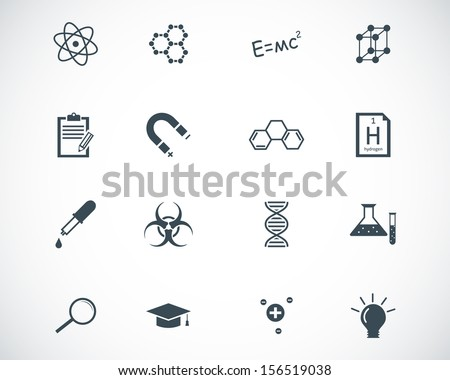 Vector black  science icons set - stock vector