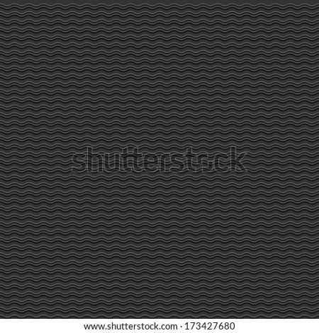 Vector black seamless pattern with stylized waves - stock vector