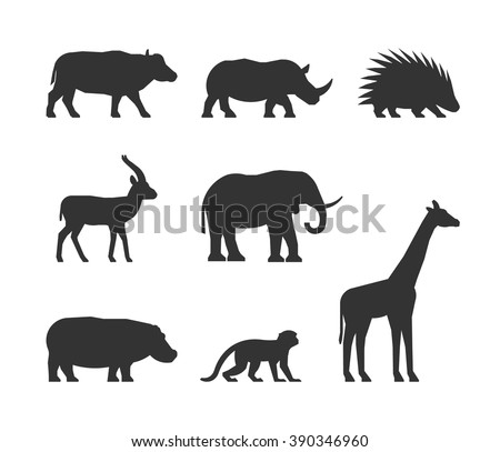 Vector black set of silhouettes african animals. Figure dromedary, gorilla and lion. Icon ostrich, warthog and leopard. Silhouette zebra, lemur and hyena. Figure african animals isolated.  - stock vector