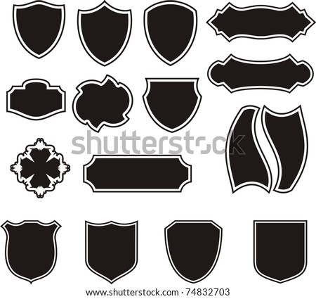 Vector Black Shields Set - stock vector