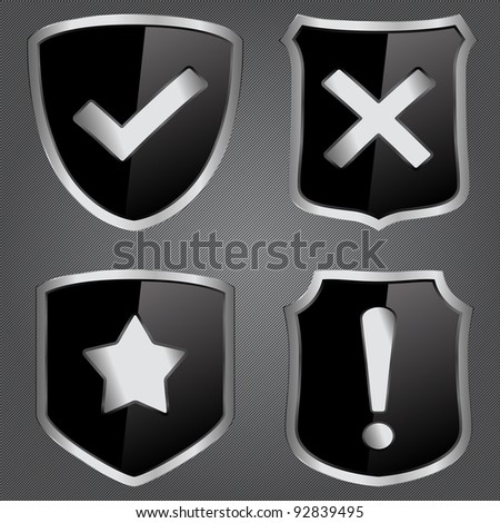 Vector black shields with icons - stock vector