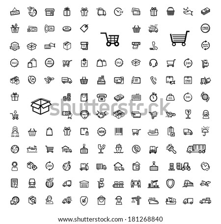 vector black shipping icon set - stock vector