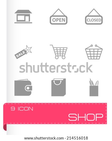 Vector black shop icons set on white background