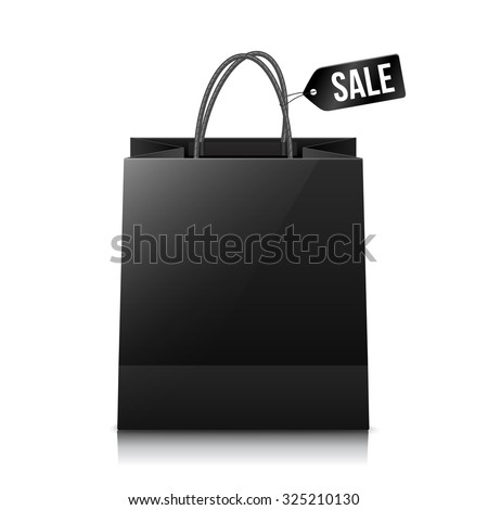 Vector black shopping bag with sale tag - stock vector