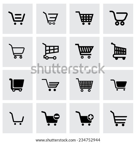 Vector black shopping cart icon set on grey background