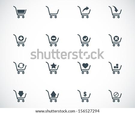 Vector black  shopping cart  icons set - stock vector