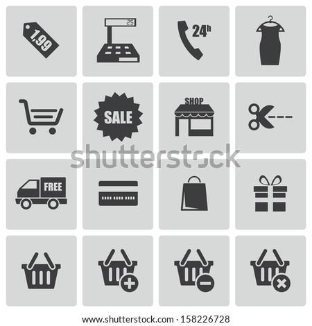 Vector black shopping icons set - stock vector