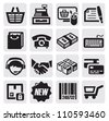 vector black shopping icons set on gray - stock photo
