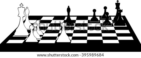 Vector black silhouette of a chess board with some pieces on it, no white objects, will look the same on the any colored background, EPS 8
