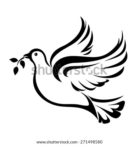 Vector black silhouette of a flying dove with olive branch on a white background.