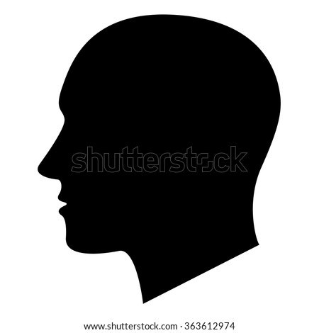 vector black silhouette of a male head
