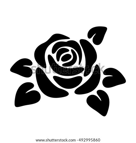 Vector black silhouette of a rose flower isolated on a white background.