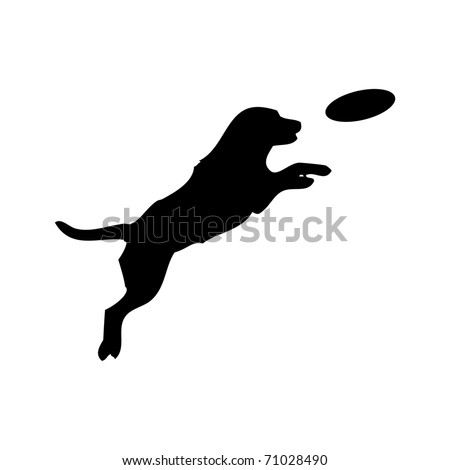 Vector black silhouette of jumping Dog and Frisbee - stock vector