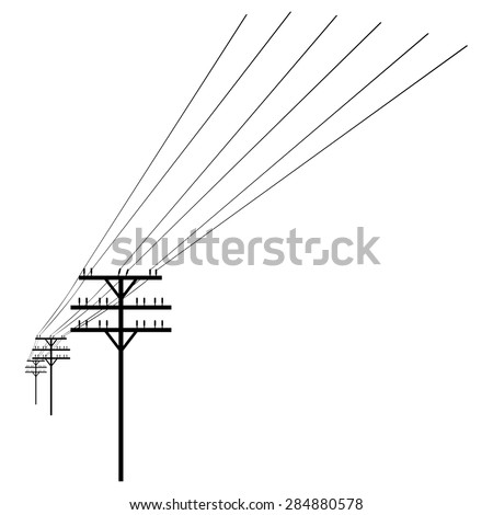 Vector Black  Silhouette of Power Line - stock vector