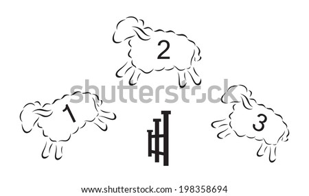 Vector black silhouette of sheeps jumping over the fence - stock vector