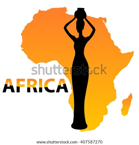 vector black silhouette of women on a map of africa orange with the inscription of