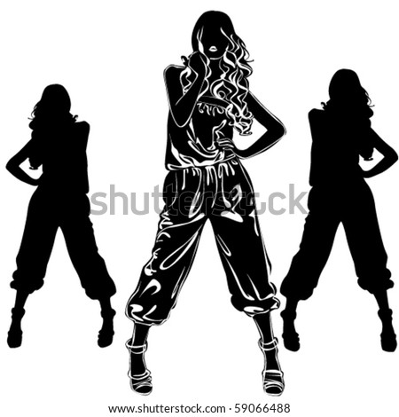 Vector black silhouettes of beautiful woman on white background - stock vector
