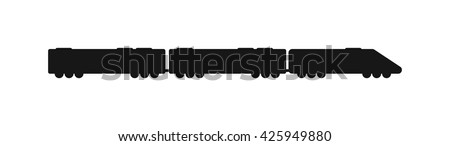 Vector black silhouettes of trains. Trains silhouette locomotives with different wagons. Trains black silhouette locomotive transportation and trains silhouette carriage freight sign rail traffic. - stock vector