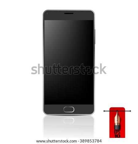 Vector black smart phone - mobile phone - stock vector