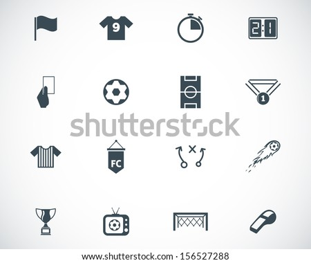 Vector black  soccer  icons set - stock vector