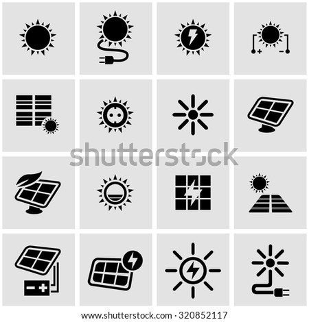 Vector black solar energy icon set.