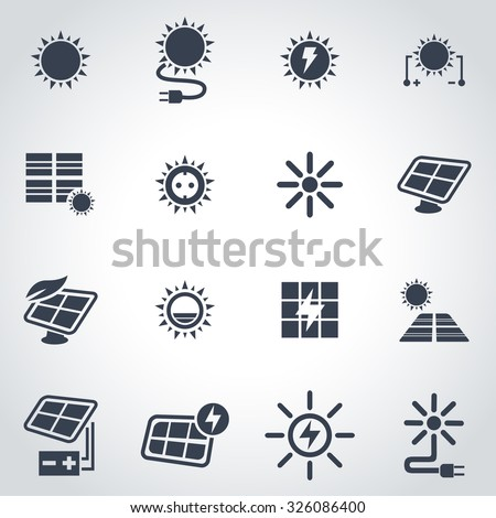 Vector black solar energy icon set. Solar Energy Icon Object, Solar Energy Icon Picture, Solar Energy Icon Image, Solar Energy Icon Graphic, Solar Energy Icon JPG, Solar EnergyIcon EPS - stock vector - stock vector
