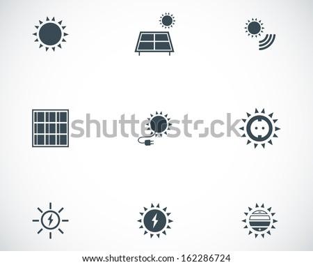Vector black solar energy icons set - stock vector
