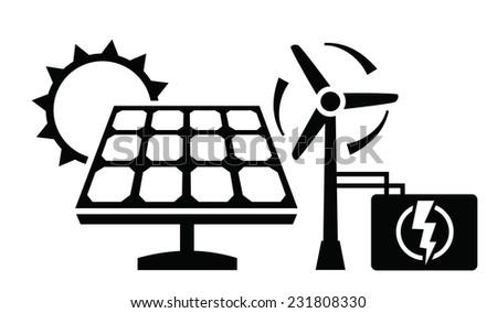 vector black solar panel icon on white background  - stock vector