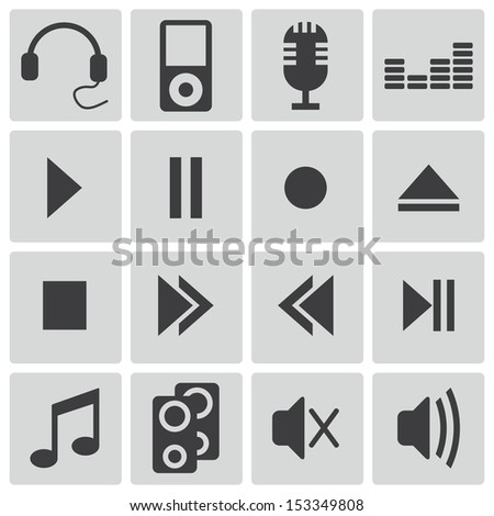 Vector black  sound icons set - stock vector
