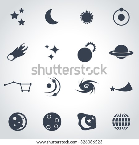 Vector black space icon set.
