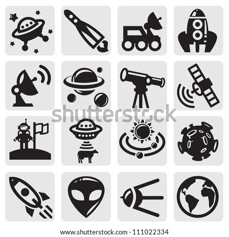vector black space icons set on gray - stock vector