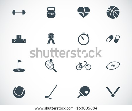 Vector black  sport icons set - stock vector
