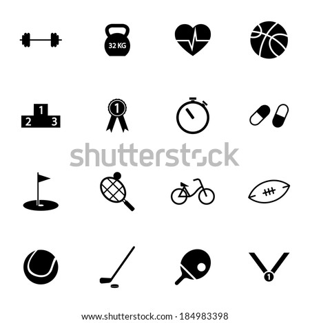 Vector black  sport icons set on white background - stock vector