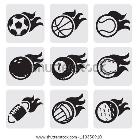 vector black sports balls on fire on gray - stock vector