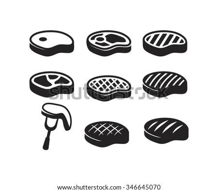 vector black steak icon on white background - stock vector