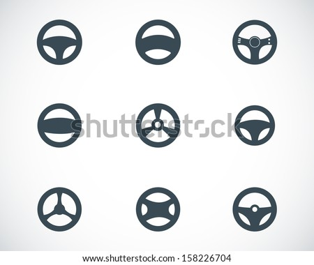 Vector black Steering wheels icons set - stock vector
