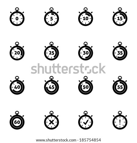 Vector black stopwatch icons set on white background - stock vector
