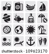 vector black summer icons set in the gray squares - stock