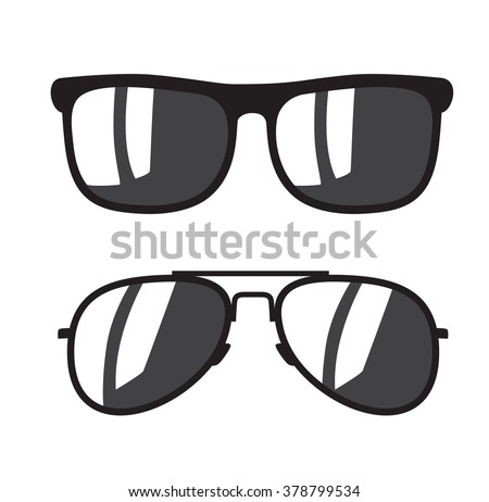 vector black Sunglasse icons on white background - stock vector